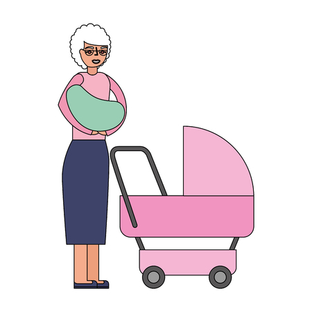 grandmother carrying grandchild on arms and pram vector illustration Иллюстрация