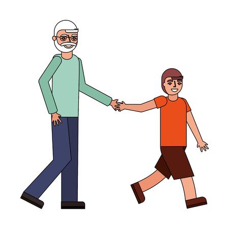 grandfather holding hand grandson walking vector illustration Ilustração Vetorial