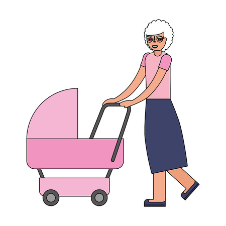 grandmother walking with pram baby vector illustration