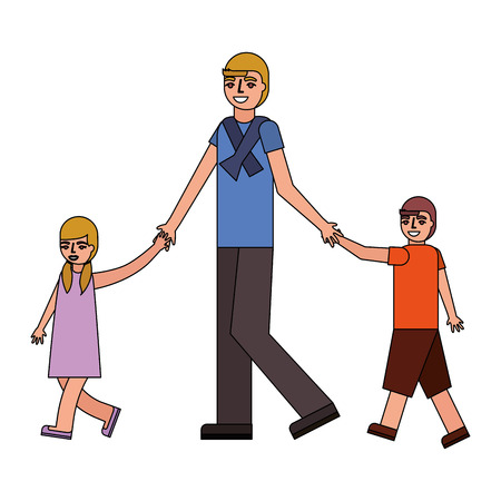 father walking with her son and daughter vector illustration