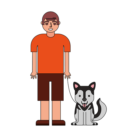 young boy with her siberian husky dog vector illustration