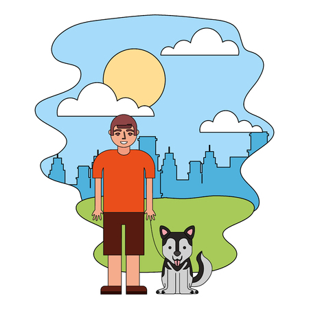 young boy with her siberian husky dog in the park city vector illustration  イラスト・ベクター素材