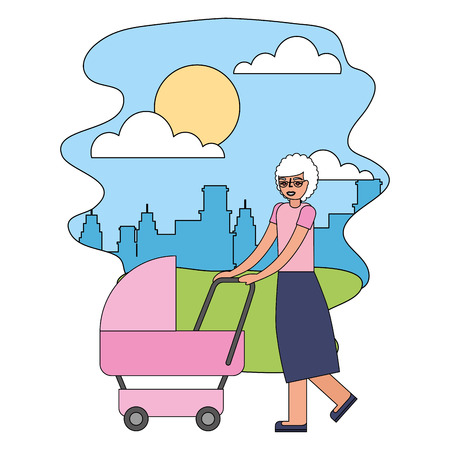 grandmother walking with pram baby in the street city vector illustration