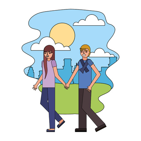 couple parents holding hands walking in the park city vector illustration Illustration