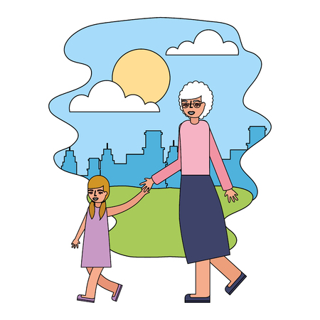 grandmother holding hand granddaughter walking vector illustration Reklamní fotografie - 112390157