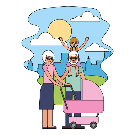 grandparents with graddaughter and baby pram vector illustration Stock Illustratie