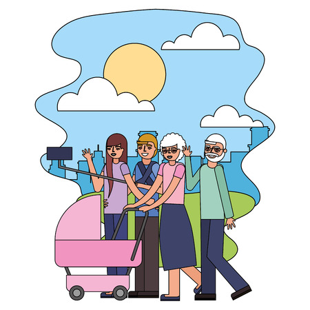 grandparents and parents with pram baby making selfie vector illustration Ilustração