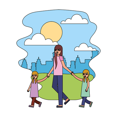 mother walking with twin daughters in the park city vector illustration