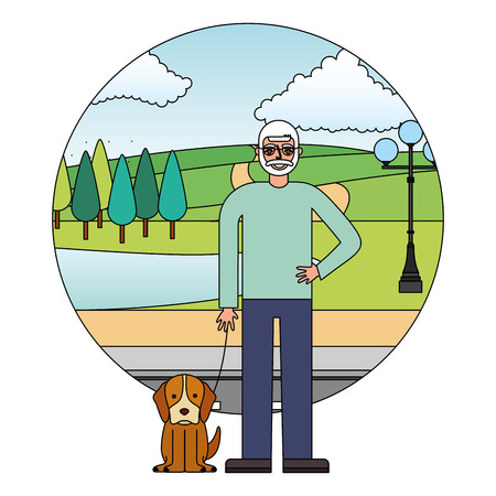 grandfather standing with her dog in the street park vector illustration Çizim