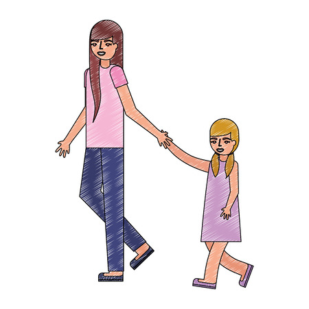 cute mother with daughter avatar character vector illustration design 일러스트
