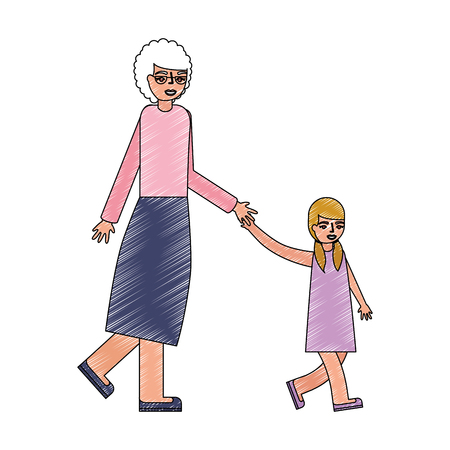 cute grandmother with granddaughter avatar character vector illustration design Archivio Fotografico - 112390174
