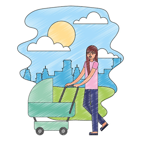 cute mother with baby cart in landscape vector illustration design