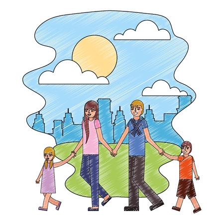 cute family avatar character in lanscape vector illustration design