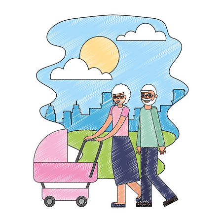 cute grandparents with baby in landscape vector illustration design