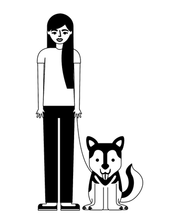 young woman with dog mascot avatar character vector illustration design