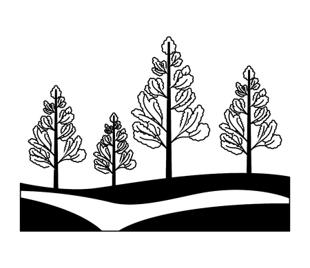 pine trees plants isolated icon vector illustration design 向量圖像