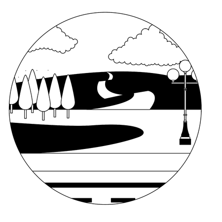 park scene with lamp isolated icon vector illustration design Çizim