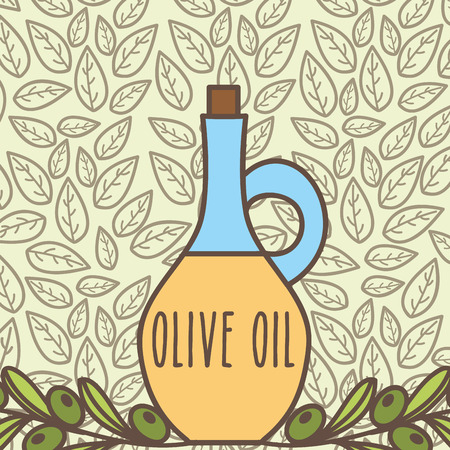 bottle olive oil product on branches leaves vector illustration