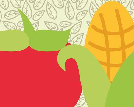 tomato and corn vegetable fresh organic vector illustration Illustration