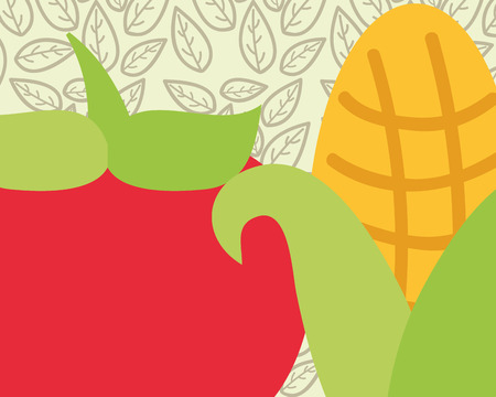 tomato and corn vegetable fresh organic vector illustration 向量圖像