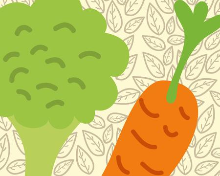 carrot and broccoli vegetable organic vector illustration