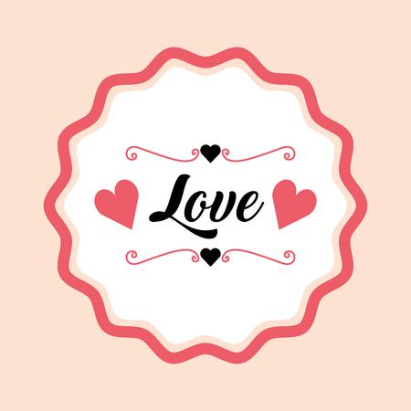 romantic love card hearts label vector illustration Illustration
