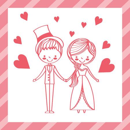 carino sposi in abiti eleganti amore cuori illustrazione vettoriale Vettoriali