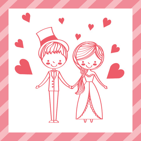 cute wedding couple in elegant clothes love hearts vector illustration