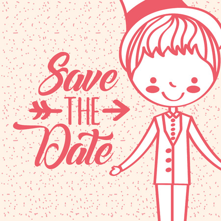 cute cartoon groom greeting card save the date vector illustration 向量圖像