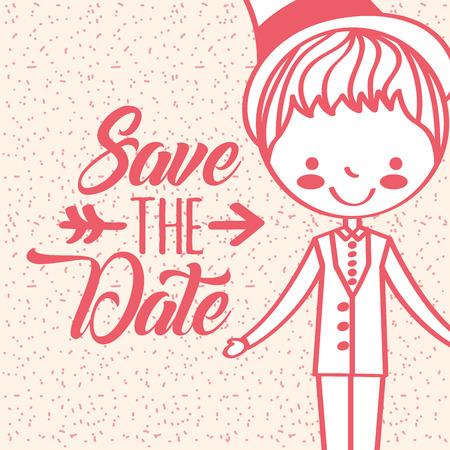 cute cartoon groom greeting card save the date vector illustration Illustration