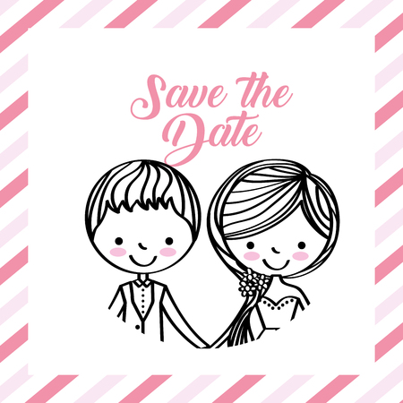 cute wedding couple portrait frame stripes vector illustration Ilustração