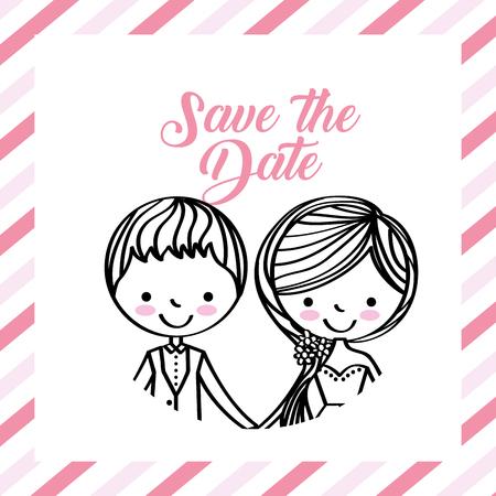 cute wedding couple portrait frame stripes vector illustration Illustration