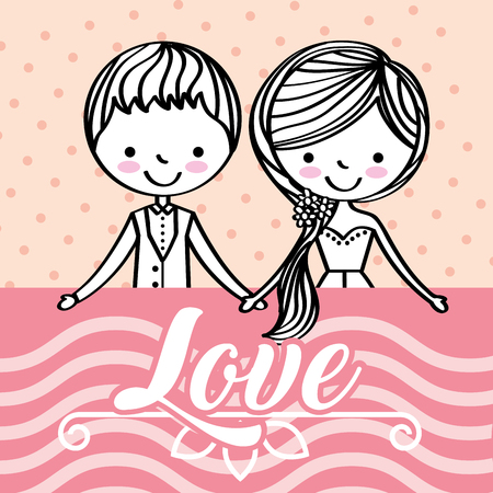 cute wedding couple holding hands together love vector illustration Ilustrace