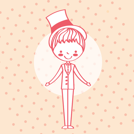wedding groom character in elegant suit and hat vector illustration  イラスト・ベクター素材