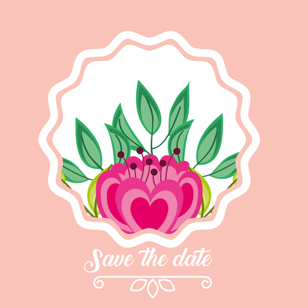 pink flower ornament save the date wedding card vector illustration