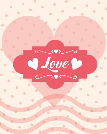 romantic love heart dotted background card vector illustration Banque d'images - 112390238