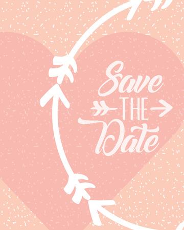 wedding card save the date love heart decoration vector illustration Фото со стока - 105572316