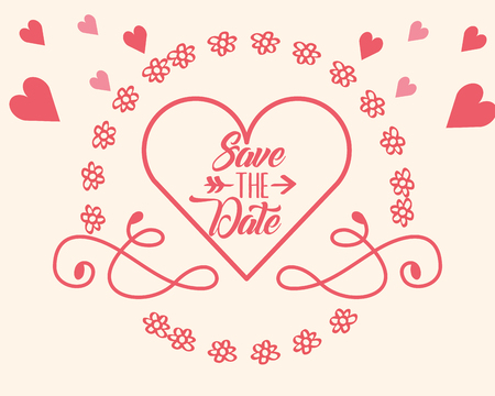 save the date in love heart flowers frame decoration card vector illustration Illustration