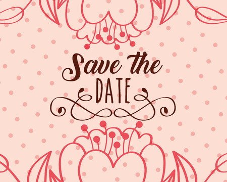 save the date love flowers dots background vector illustration