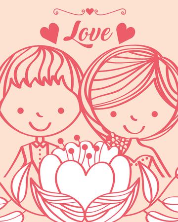 wedding cute bride and groom flower hearts card vector illustration  イラスト・ベクター素材