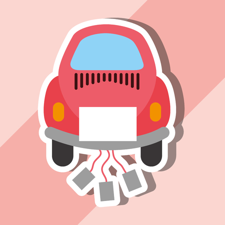 just married on car with cans cartoon vector illustration Illustration