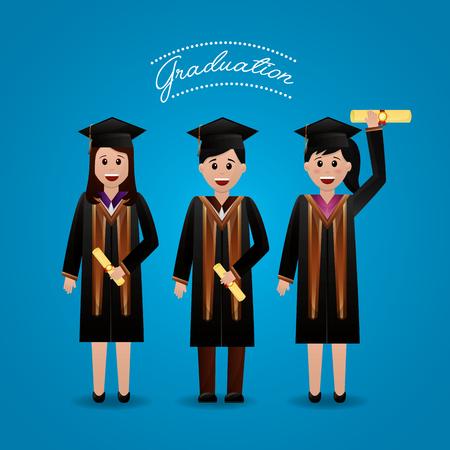 congratulations graduation happy students greeting holding certificate celebration vector illustration