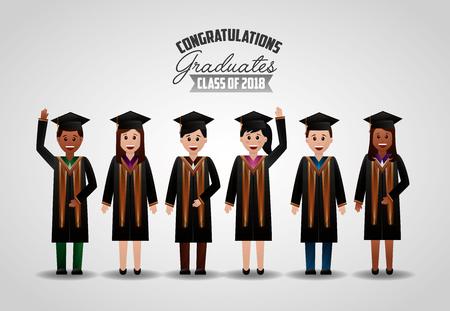 congratulations graduation happy students greeting certificate vector illustration