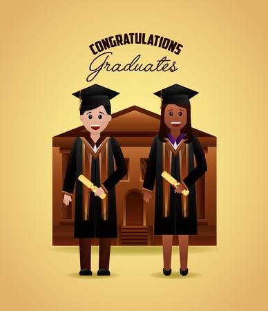 congratulations graduation chool building girls smiling students holding certificate vector illustration Stock Illustratie