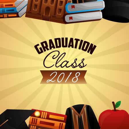 congratulations graduation dress hat books school building vector illustration