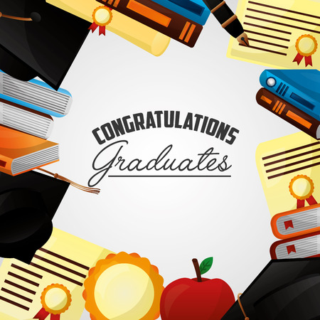 congratulations graduation colors books certificate apple vector illustration