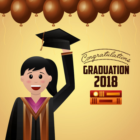 congratulations graduation brown balloons decoration celebrate happy student holding hat vector illustration