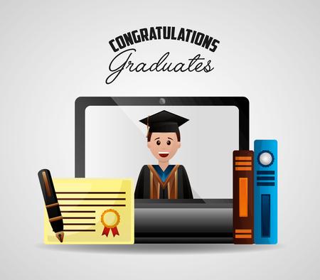 congratulations graduation student smiling screen computer books certificate vector illustration Stock Illustratie