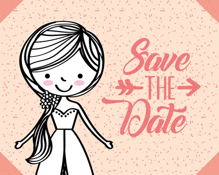 wedding bride cartoon save the date vector illustration