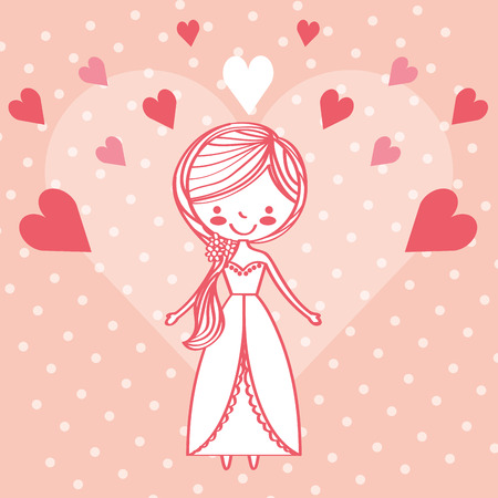 cute bride character love hearts vector illustration Stock fotó